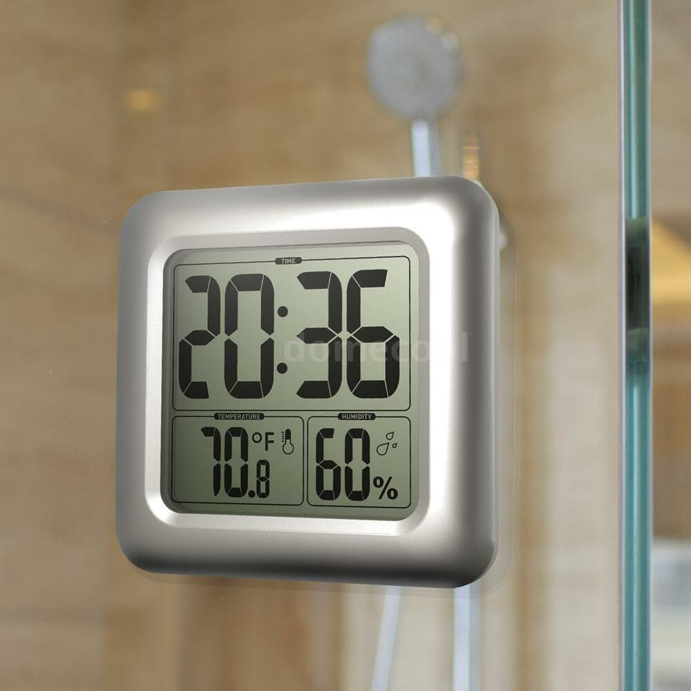 Digital LCD Display Waterproof Bathroom Wall Shower Clock