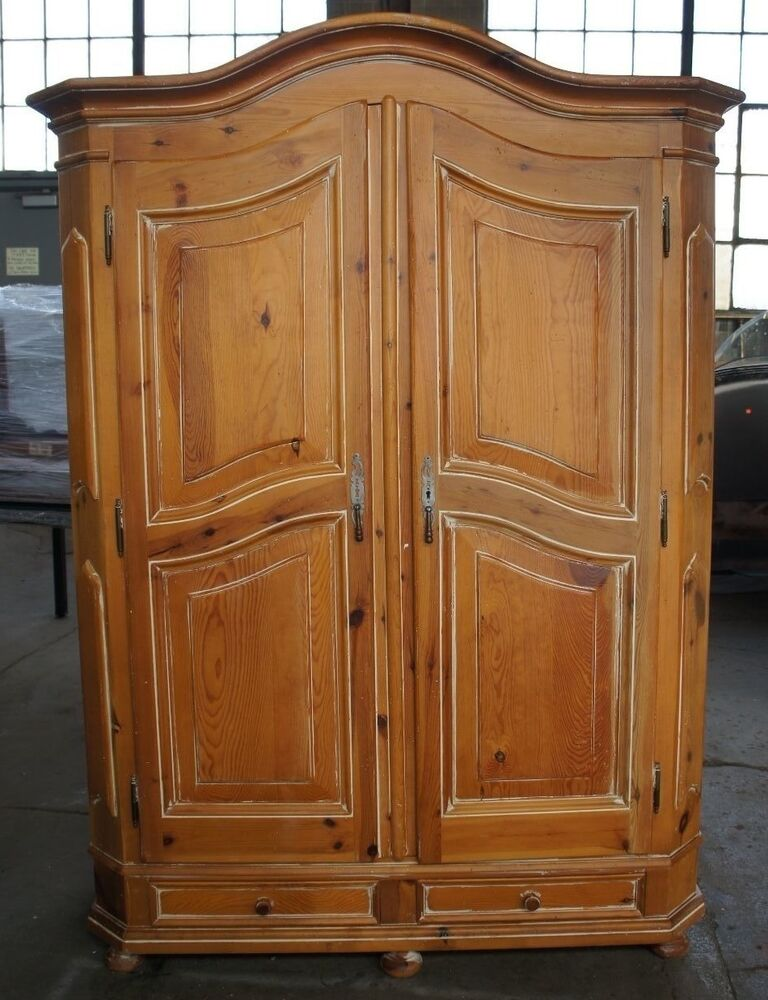 Vtg Distressed Pine Bedroom Clothing Armoire Country