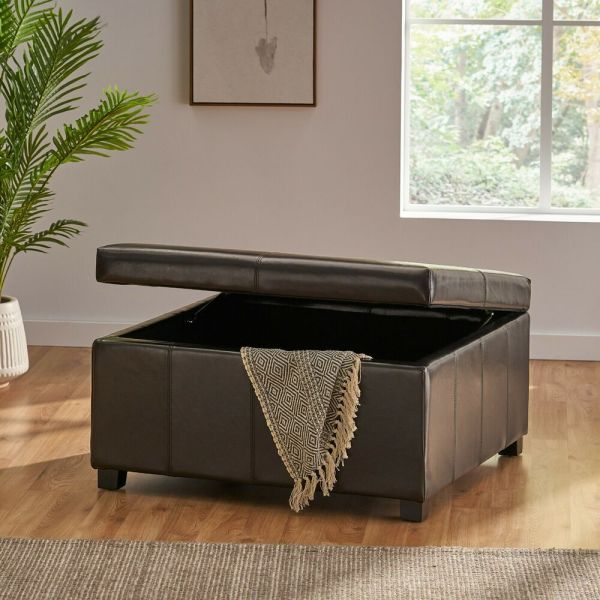Large Espresso Leather Storage Ottoman Coffee Table