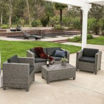 Outdoor Patio Furniture Grey Pe Wicker 4pcs Luxury Sofa