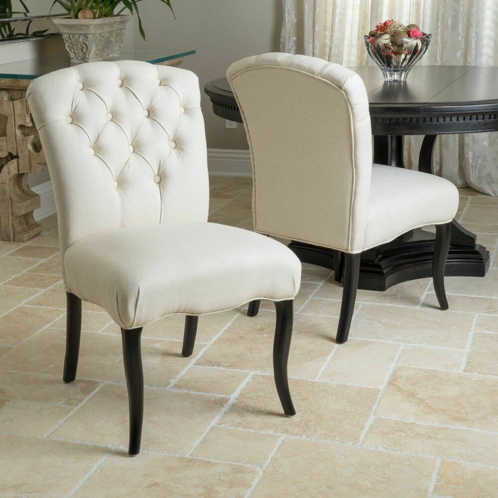 Set of 2 Dining Room Elegant Button Tufted Linen Fabric