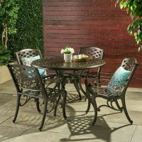 Outdoor Patio Furniture 5pcs Bronze Cast Aluminum Dining ...