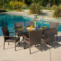 Outdoor Patio Furniture 7pc Vestavia Cast Aluminum Wicker
