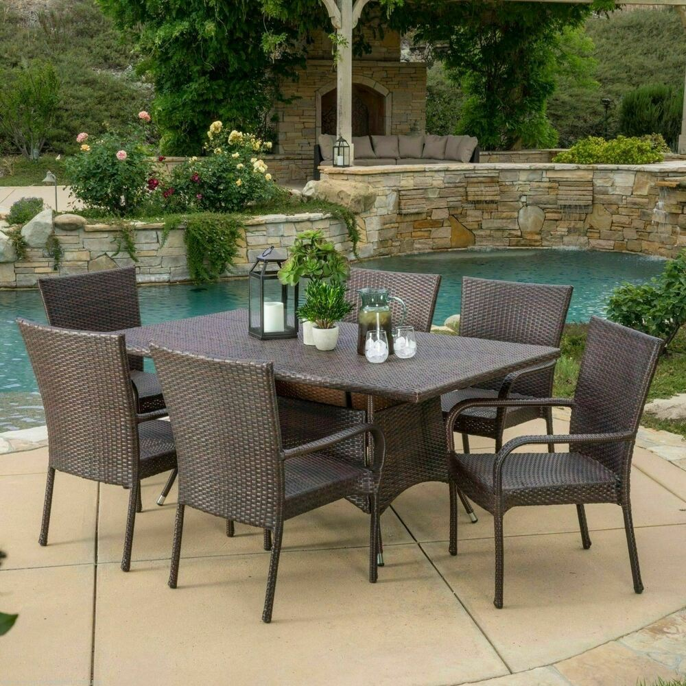 Outdoor Patio Furniture 7pc Multibrown All