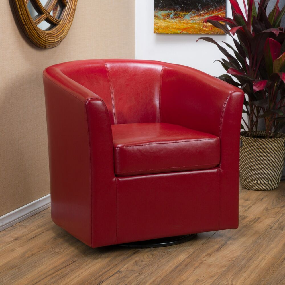 Contemporary Red Leather Swivel Club Chair  eBay
