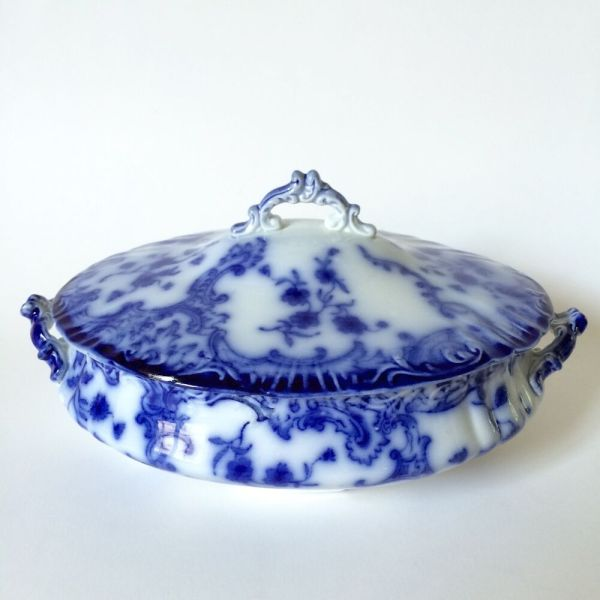 Antique Flow Blue Tureen Wh Grindley England Marie Pattern