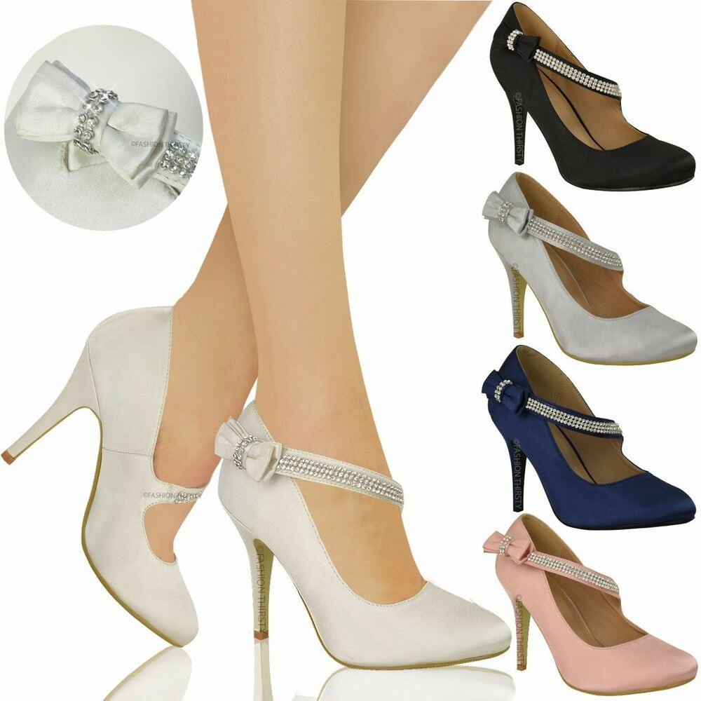 WOMENS LADIES BRIDAL WEDDING PROM PARTY HIGH HEEL CLASSIC