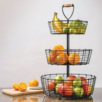 Giftburg 3-Tier Wrought Iron Wire Basket Fruit Food Bath ...