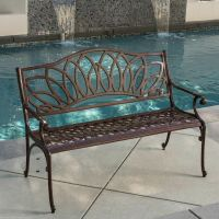 Outdoor Patio Furniture Brown Cast Aluminum Garden Bench ...