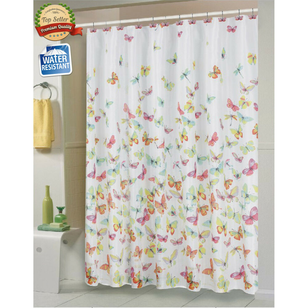 Shannon Butterfly Fabric Shower Curtain by Carnation Home