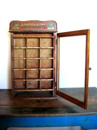 Antique Ampollina Dye Display Advertising Cabinet With