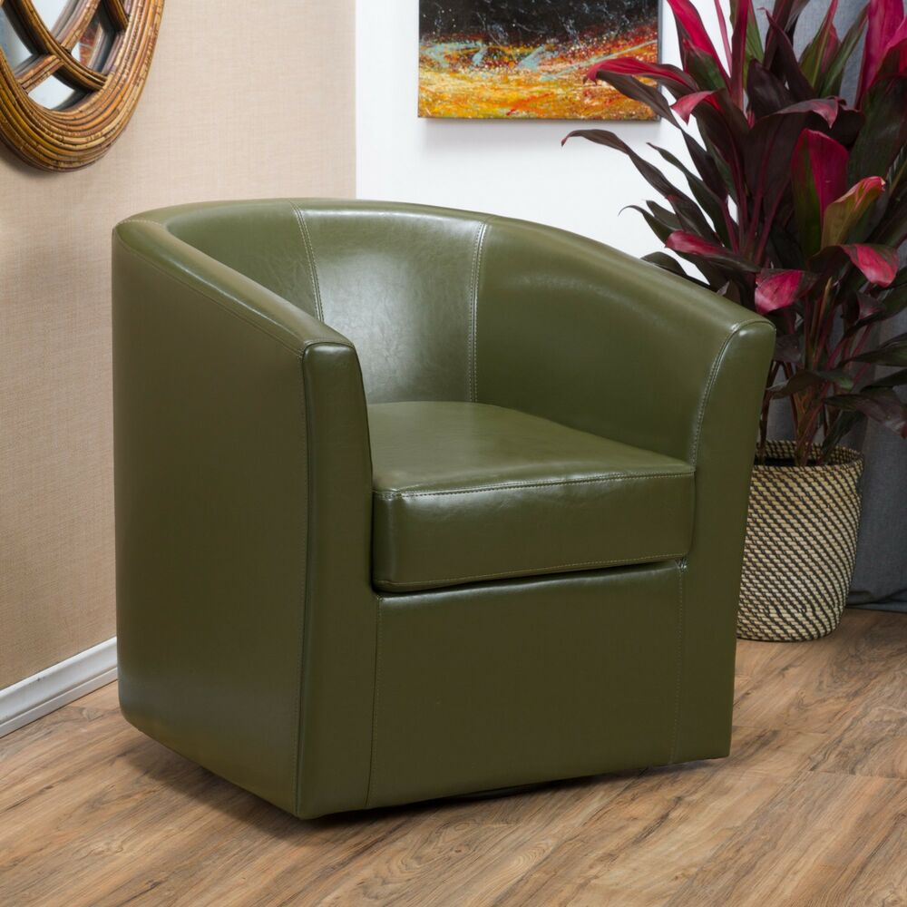swivel chairs living room toy storage units for contemporary tea green leather club chair | ebay