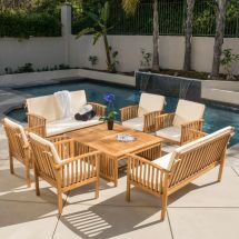 Casual Outdoor Patio Furniture 8-pc Wood Stained Finish