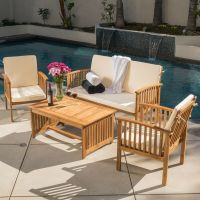 Casual Outdoor Patio Furniture Wood Stained Finish 4-pc ...