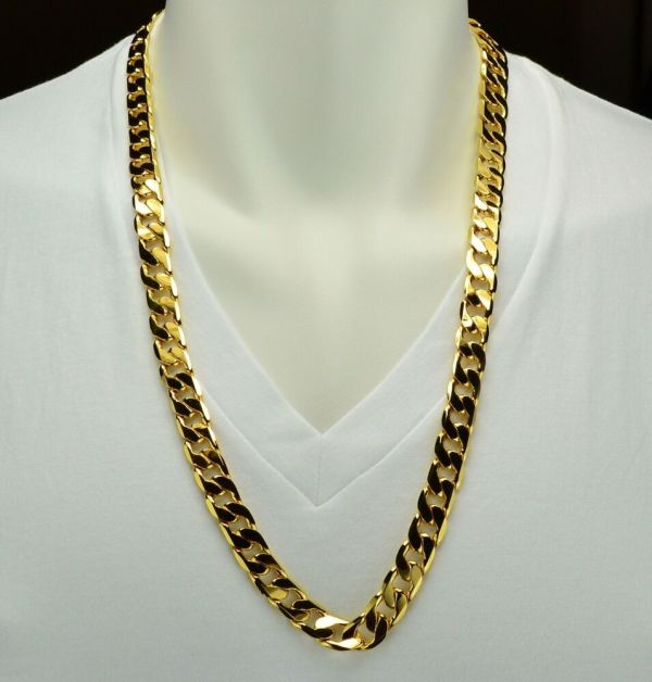 Mens Heavy 18k Yellow Gold Filled Figaro Link Chain