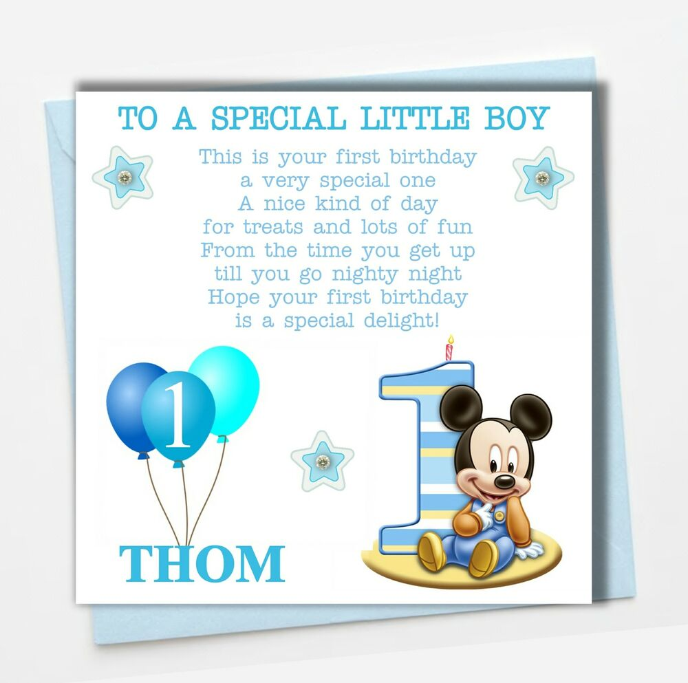 Personalised Mickey Mouse Boy Son Grandson Godson Babies