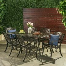 Outdoor 7-piece Cast Aluminum Rectangle Bronze Dining Set