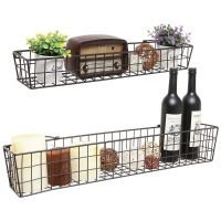 Wall Shelf Basket Metal Wire Shelves Storage Rack Country ...