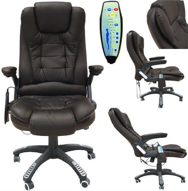 Brown 6 Point Massage Office Computer Chair Faux Leather