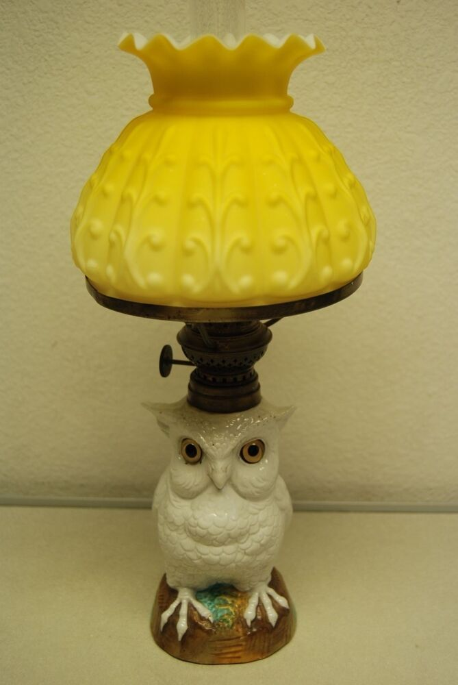 ANTIQUE PORCELAIN CERAMIC KEROSENE OIL OWL DRESDEN MEISSEN