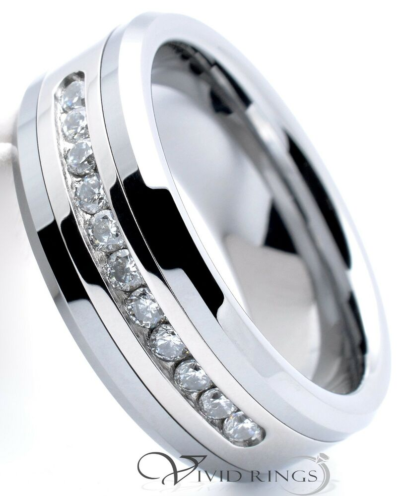Mens Tungsten Carbide Ring Channel Cz Wedding Band Ring