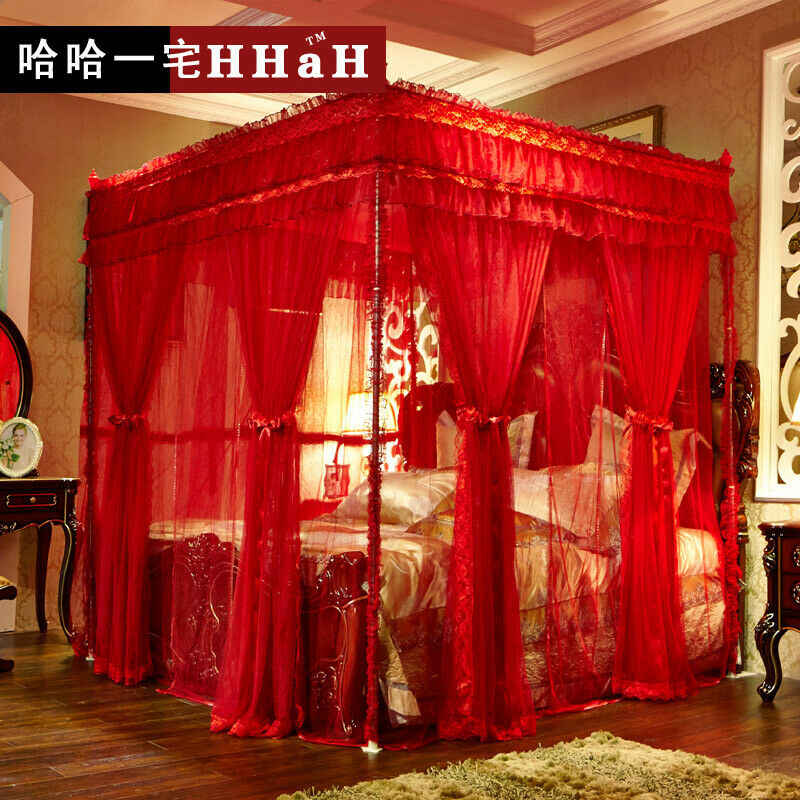 Luxury Bed Canopy Curtain Valance Double Layers Stainless