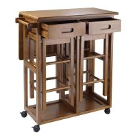 Kitchen Island Table Rolling Utility Cart Storage Portable ...