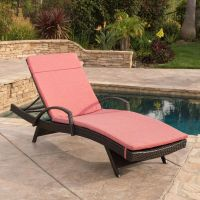Contemporary Outdoor Brown Wicker Armed Chaise Lounge ...