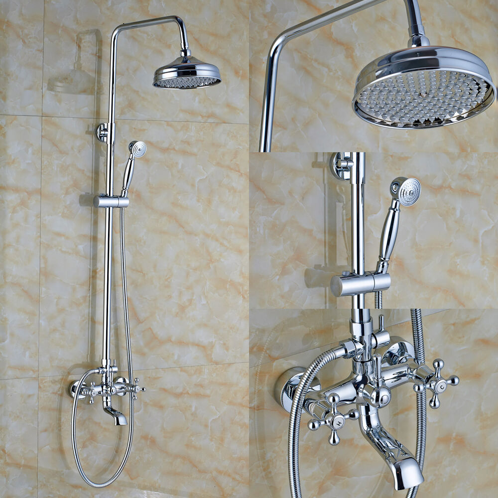 Bathroom 8 Round Rainfall Shower Faucet Set Tub Mixer Spout Tap with Hand Spray  eBay