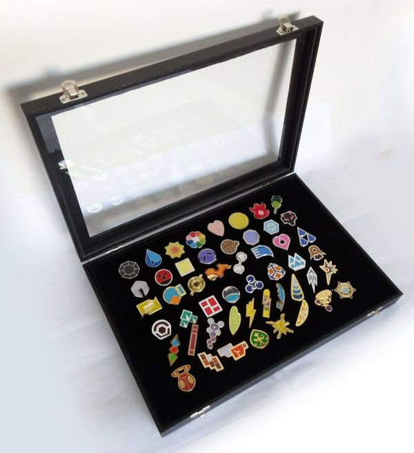 Pokemon Gym Badges With Glass Lid Display Showcase Set Of