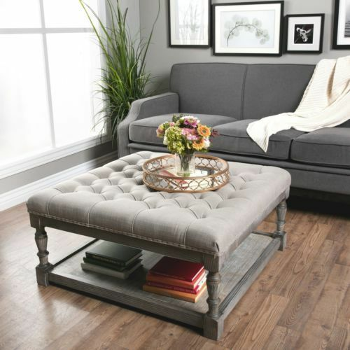 grey linen tufted sofa dark green leather sectional beige storage ottoman seat coffee table ...
