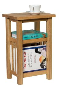 Small Oak Magazine Rack Side Table | Wooden Coffee/Lamp ...