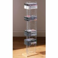 50 DVD HOLDER STORAGE TOWER RACK CHROME WOOD BASE FREE