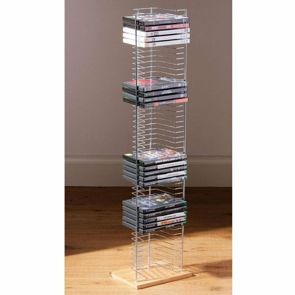 Dvd Holder Storage Tower Rack Chrome Wood Base Free Standing Unit