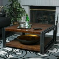 Contemporary Dark Oak Wood Coffee Table | eBay