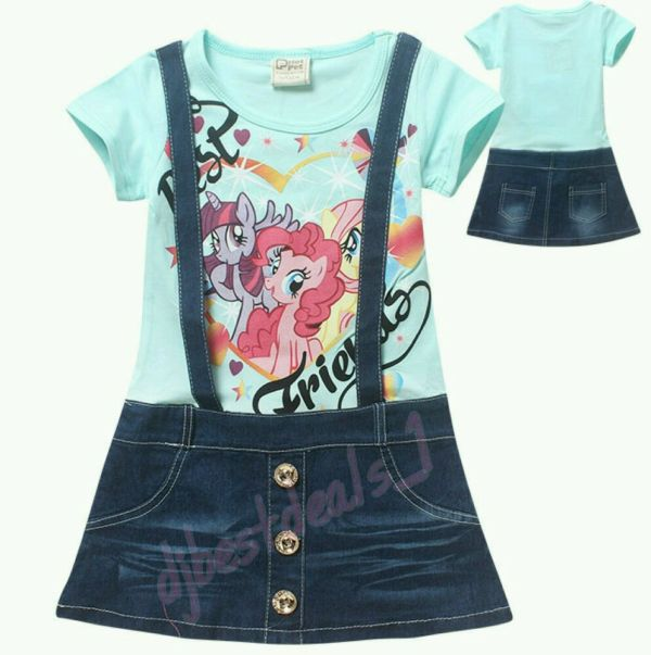 Summer Girls Little Pony Denim Dress Children Kids