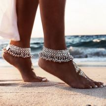 Barefoot Women Wearing Ankle Bracelets