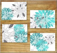 Teal Turquoise Gray Wall Art Prints Decor Floral Flower ...