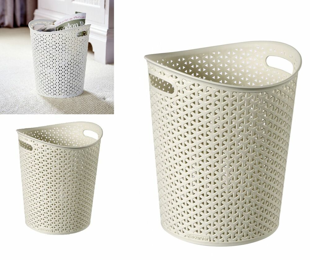 where can i buy a kitchen table hand towels curver faux rattan waste paper basket bin 13l | ebay