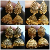 Indian Gold Plated 4 Types Jhumka Designer Wedding Bridal ...