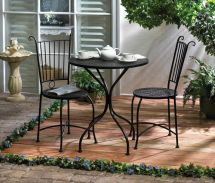 3 Piece Patio Bistro Set Table And 2 Chairs Black Metal