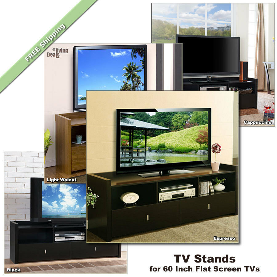 60 Inch TV Stand for 60 Inch Flat Screens TVs Media Console Table Wood TV Stands  eBay