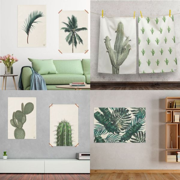Design Fabric Prints Wall Hanging Poster Botanical Leaf Cactus Painting Art