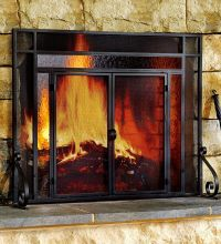 2-Door Steel Fireplace Screen w/ TempeRed Glass Accents ...