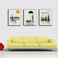 Paris London New York Stretched Canvas Prints Framed Wall ...