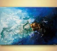 """modern blue abstract art acrylic blue painting 48"""" by ..."""