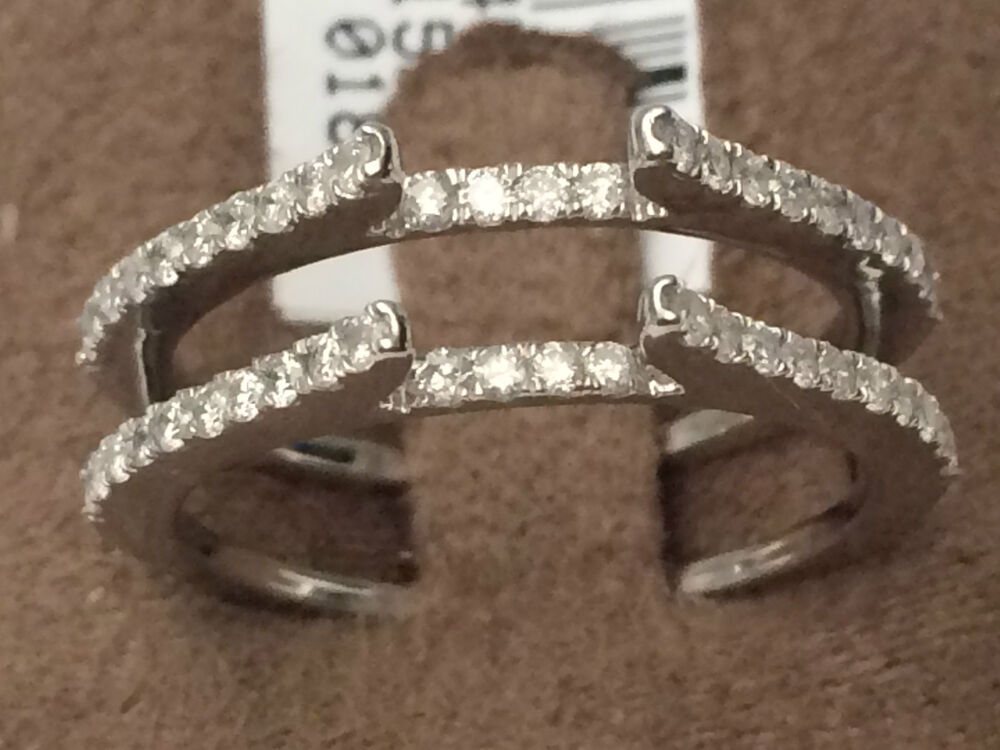 Pave Vintage Cathedral Ring Diamonds Guard Solitaire Enhancer 14k White Gold 05  eBay