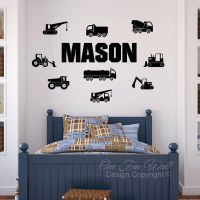 Personalized Name 9 Construction Trucks Bedroom Vinyl Wall ...