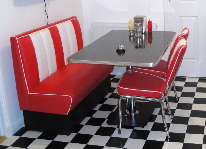 cowhide chairs uk big joe bed bath and beyond retro furniture 50s american diner restaurant kitchen half booth table set red | ebay