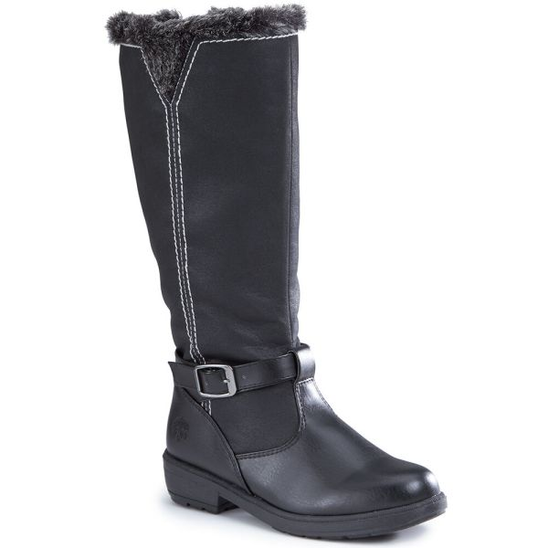 Women' Black Waterproof Faux Fur Totes Riding Boots With Side Zipper Buckle